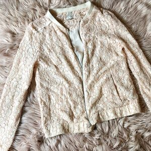 LC Lauren Conrad Blush Pink Lace Zip Up Blazer